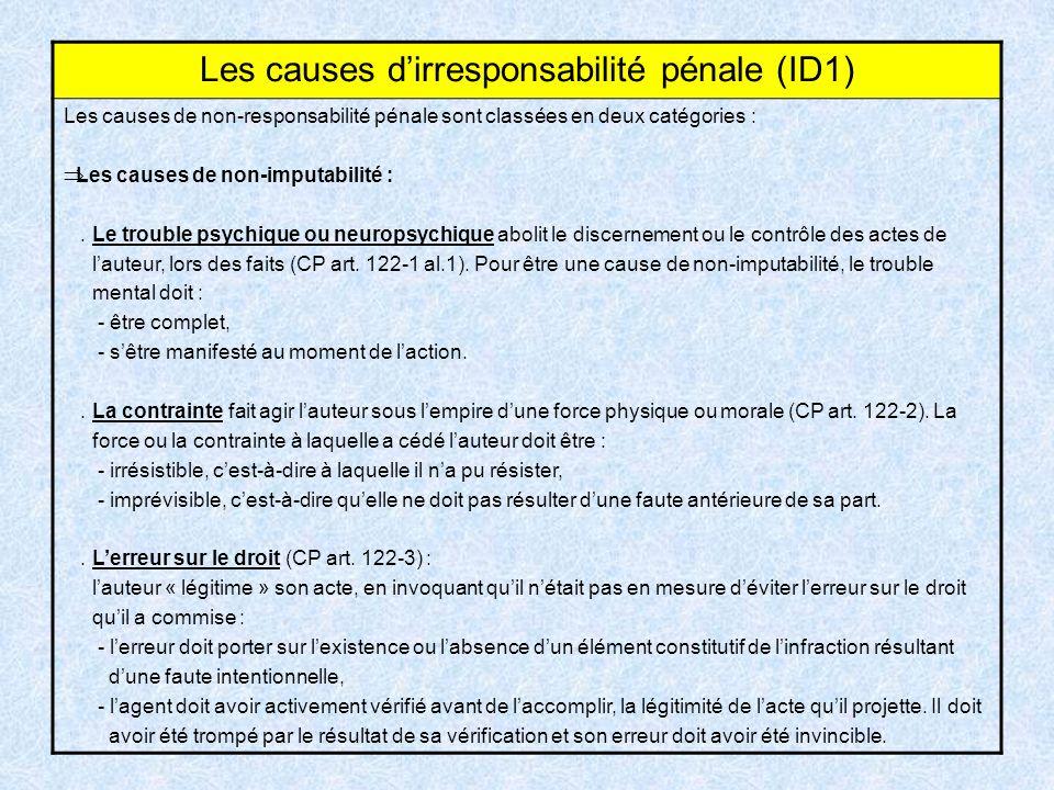 Les causes dirresponsabilité pénale (ID1) Les causes de non-responsabilité pénale sont classées en deux catégories : Les causes de non-imputabilité :.