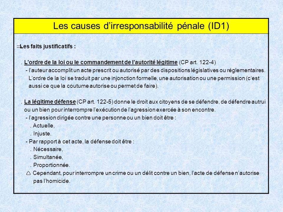 Les causes dirresponsabilité pénale (ID1) Les faits justificatifs :. Lordre de la loi ou le commandement de lautorité légitime (CP art. 122-4) - laute