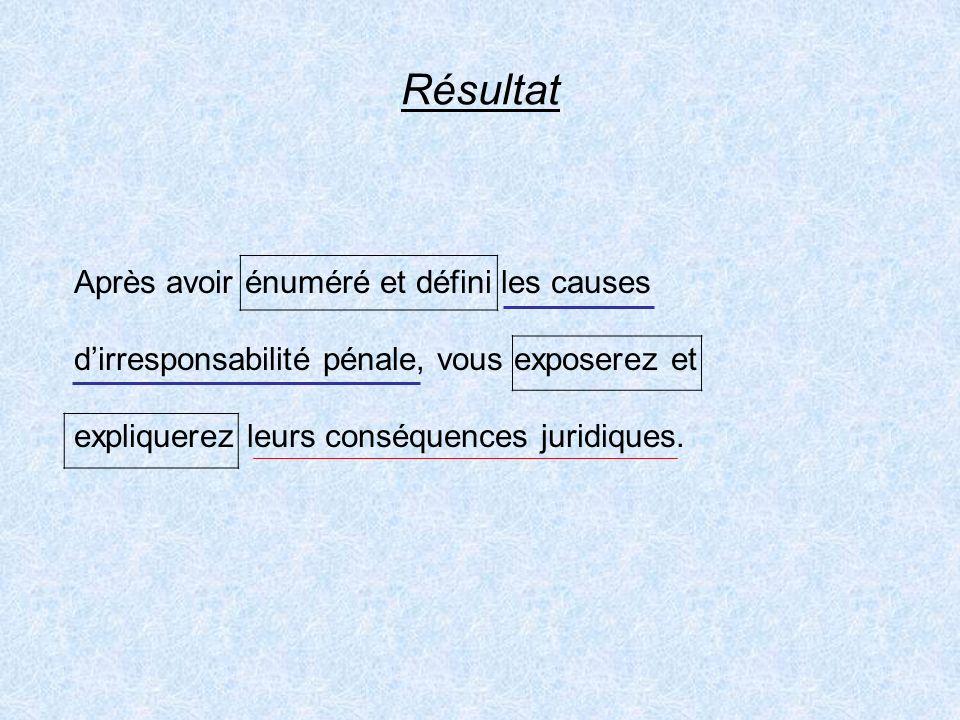 Résultat Après avoir énuméré et défini les causes dirresponsabilité pénale, vous exposerez et expliquerez leurs conséquences juridiques.
