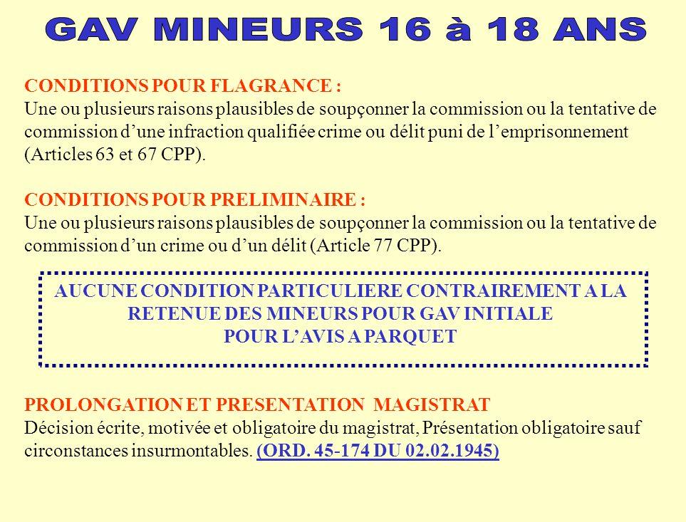 CONDITIONS POUR FLAGRANCE : Une ou plusieurs raisons plausibles de soupçonner la commission ou la tentative de commission dune infraction qualifiée crime ou délit puni de lemprisonnement (Articles 63 et 67 CPP).