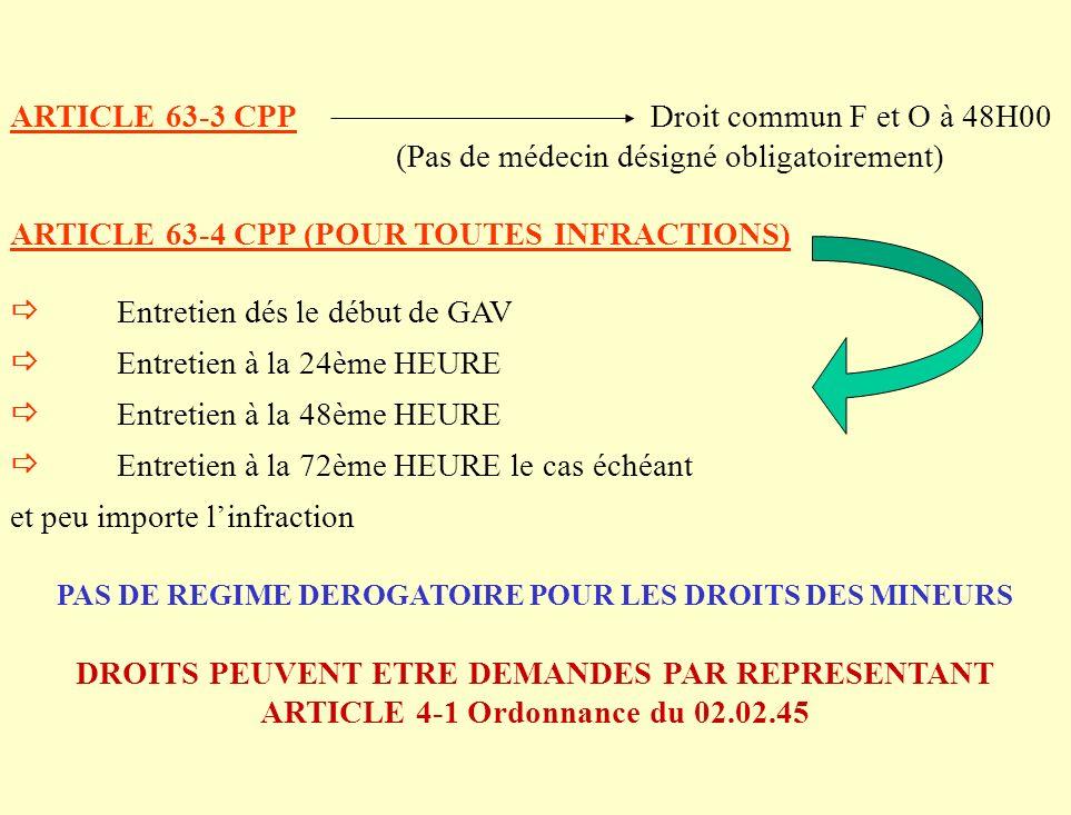 ARTICLE 63-3 CPPDroit commun F et O à 48H00 (Pas de médecin désigné obligatoirement) ARTICLE 63-4 CPP (POUR TOUTES INFRACTIONS) Entretien dés le début de GAV Entretien à la 24ème HEURE Entretien à la 48ème HEURE Entretien à la 72ème HEURE le cas échéant et peu importe linfraction PAS DE REGIME DEROGATOIRE POUR LES DROITS DES MINEURS DROITS PEUVENT ETRE DEMANDES PAR REPRESENTANT ARTICLE 4-1 Ordonnance du 02.02.45