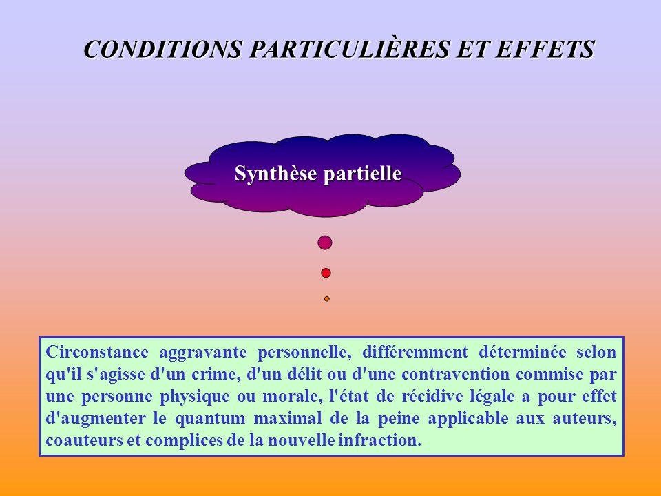 Synthèse partielle Circonstance aggravante personnelle, différemment déterminée selon qu'il s'agisse d'un crime, d'un délit ou d'une contravention com