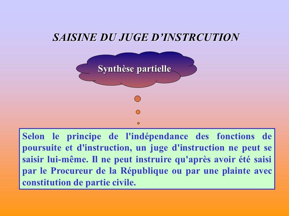 Synthèse partielle Selon le principe de l indépendance des fonctions de poursuite et d instruction, un juge d instruction ne peut se saisir lui-même.