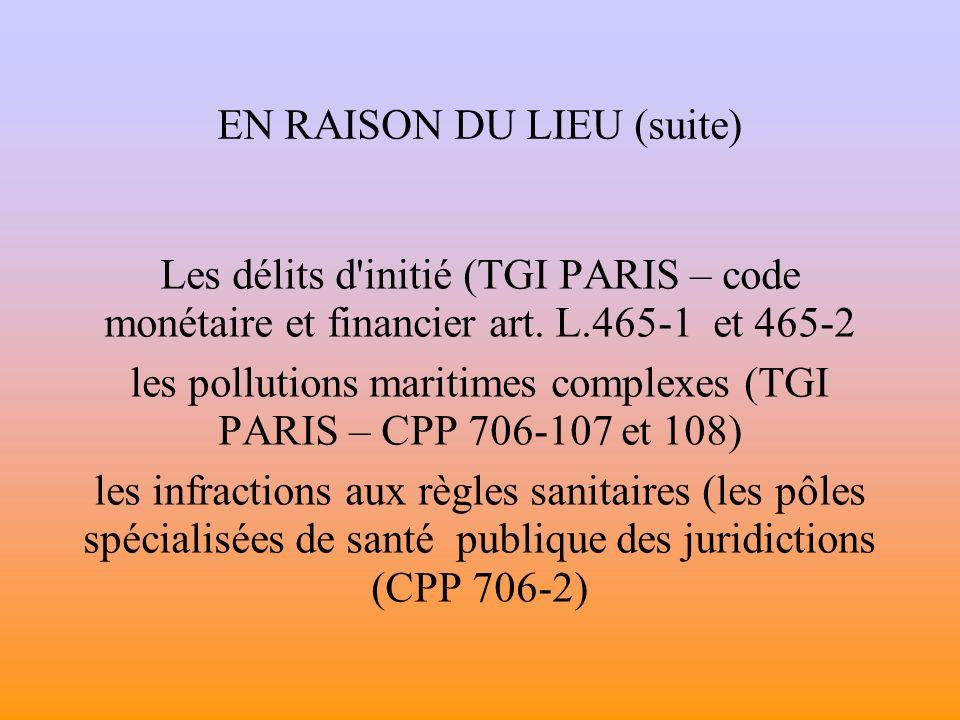 EN RAISON DU LIEU (suite) Les délits d initié (TGI PARIS – code monétaire et financier art.