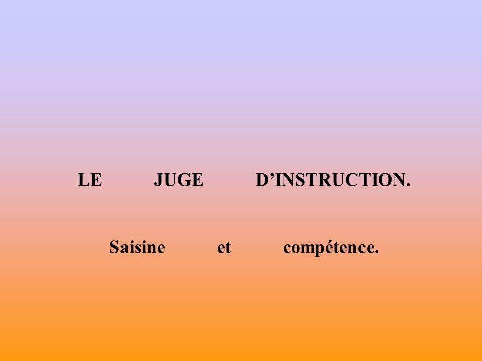 LE JUGE DINSTRUCTION. Saisine et compétence.