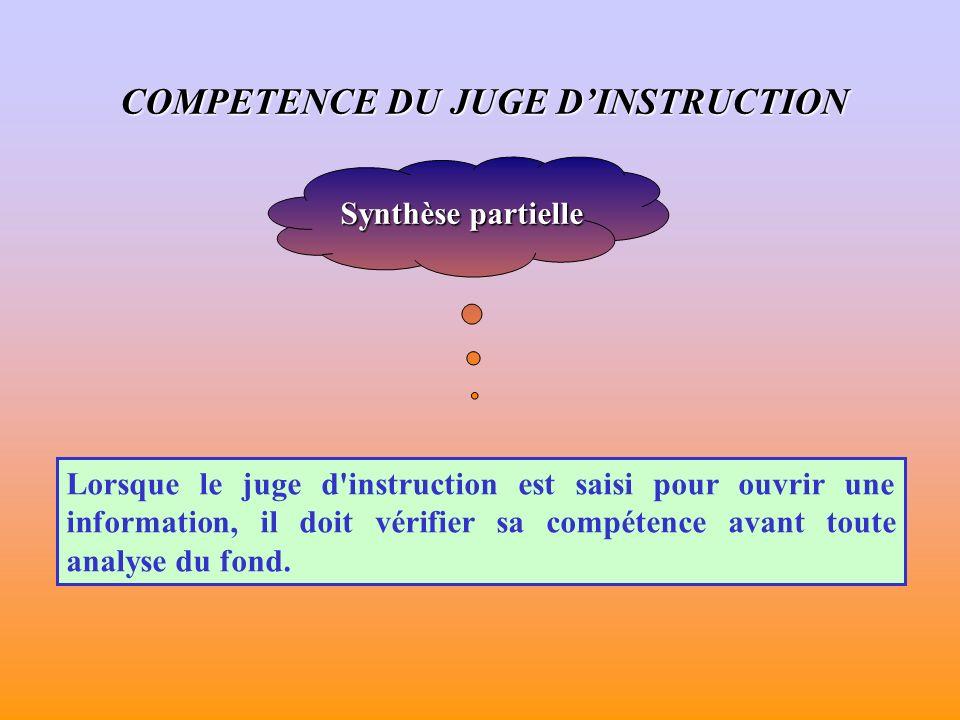 Synthèse partielle Lorsque le juge d instruction est saisi pour ouvrir une information, il doit vérifier sa compétence avant toute analyse du fond.