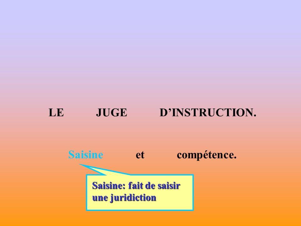 LE JUGE DINSTRUCTION. Saisine et compétence. Saisine: fait de saisir une juridiction