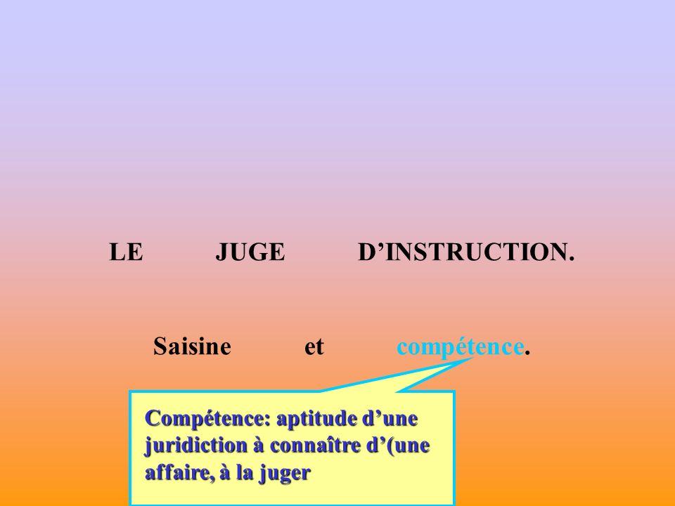 LE JUGE DINSTRUCTION.Saisine et compétence.