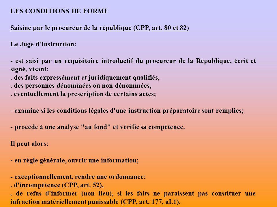 LES CONDITIONS DE FORME Saisine par le procureur de la république (CPP, art.