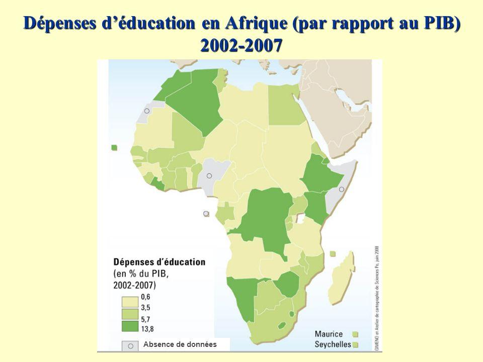 Dépenses déducation en Afrique (par rapport au PIB) 2002-2007 Absence de données