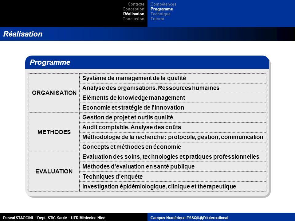 Pascal STACCINI – Dept. STIC Santé – UFR Médecine NiceCampus Numérique ESSQU@D International Réalisation Programme ORGANISATION Système de management