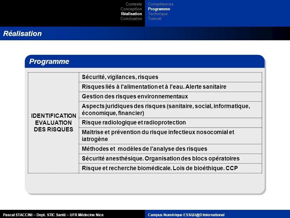 Pascal STACCINI – Dept. STIC Santé – UFR Médecine NiceCampus Numérique ESSQU@D International Réalisation Programme IDENTIFICATION EVALUATION DES RISQU