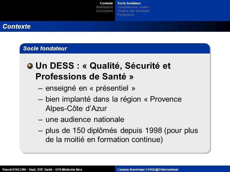 Pascal STACCINI – Dept. STIC Santé – UFR Médecine NiceCampus Numérique ESSQU@D International Contexte Un DESS : « Qualité, Sécurité et Professions de