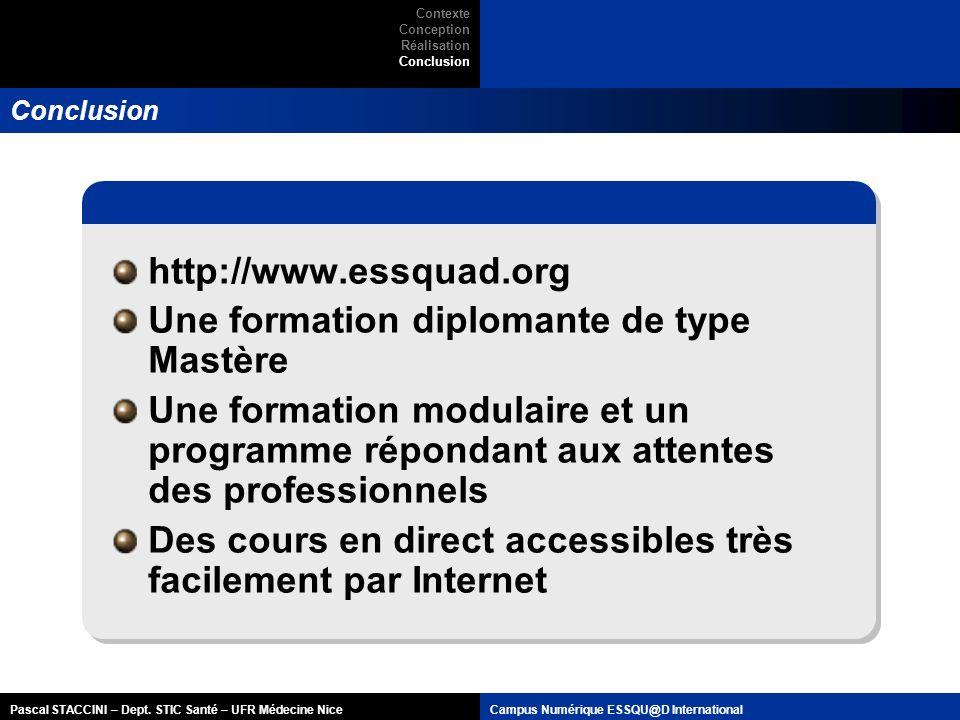 Pascal STACCINI – Dept. STIC Santé – UFR Médecine NiceCampus Numérique ESSQU@D International Conclusion http://www.essquad.org Une formation diplomant