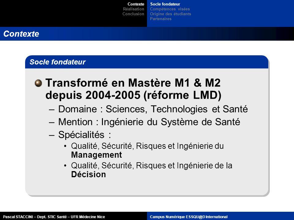 Pascal STACCINI – Dept. STIC Santé – UFR Médecine NiceCampus Numérique ESSQU@D International Contexte Transformé en Mastère M1 & M2 depuis 2004-2005 (
