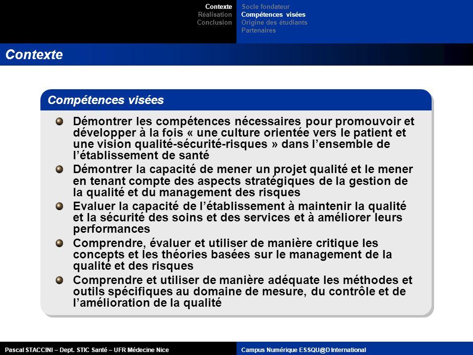 Pascal STACCINI – Dept. STIC Santé – UFR Médecine NiceCampus Numérique ESSQU@D International Contexte Démontrer les compétences nécessaires pour promo
