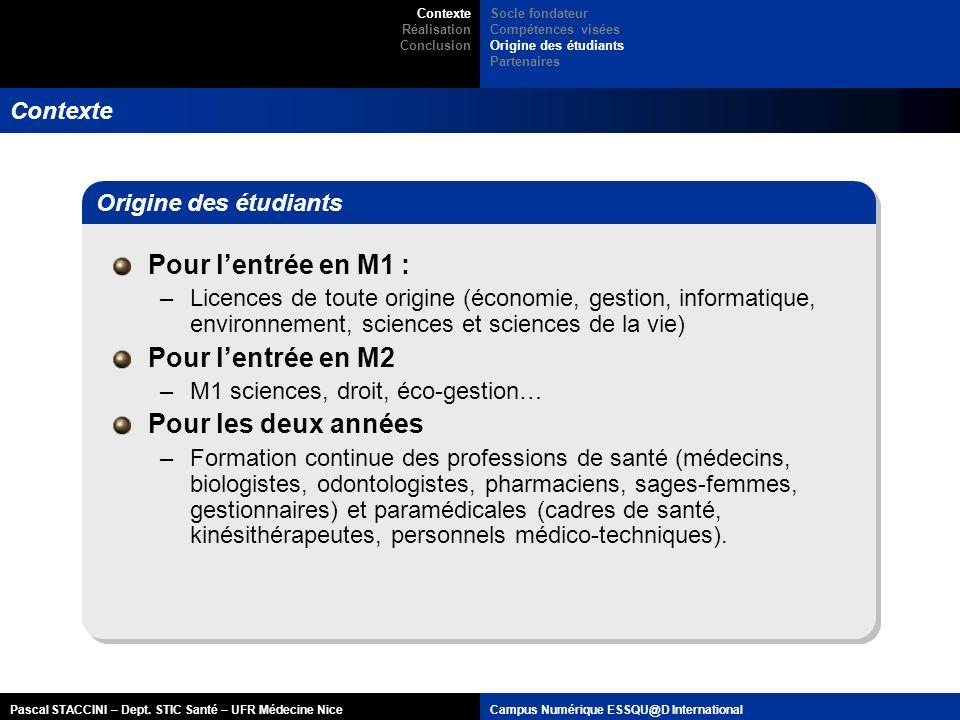 Pascal STACCINI – Dept. STIC Santé – UFR Médecine NiceCampus Numérique ESSQU@D International Contexte Pour lentrée en M1 : –Licences de toute origine