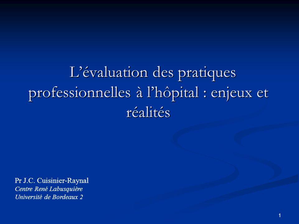 1 Lévaluation des pratiques professionnelles à lhôpital : enjeux et réalités Lévaluation des pratiques professionnelles à lhôpital : enjeux et réalités Pr J.C.