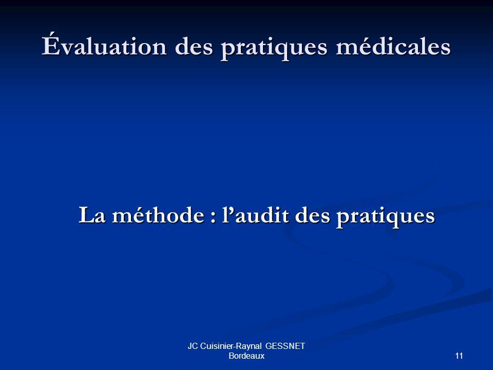 11 JC Cuisinier-Raynal GESSNET Bordeaux Évaluation des pratiques médicales La méthode : laudit des pratiques