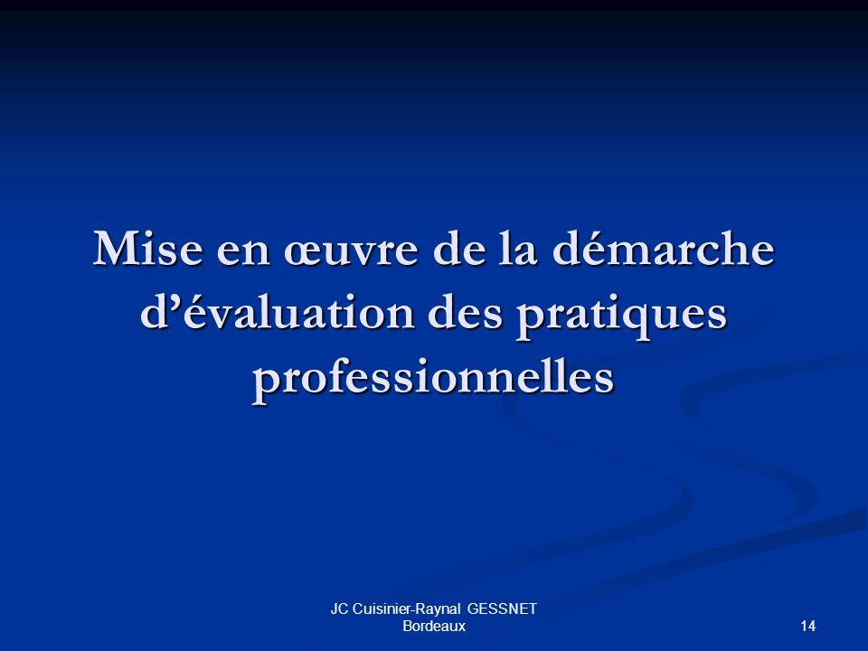 14 JC Cuisinier-Raynal GESSNET Bordeaux Mise en œuvre de la démarche dévaluation des pratiques professionnelles