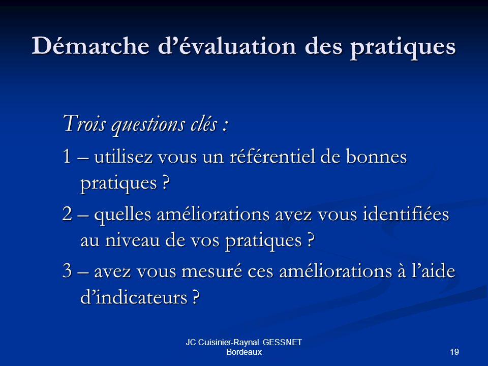 19 JC Cuisinier-Raynal GESSNET Bordeaux Démarche dévaluation des pratiques Trois questions clés : 1 – utilisez vous un référentiel de bonnes pratiques .