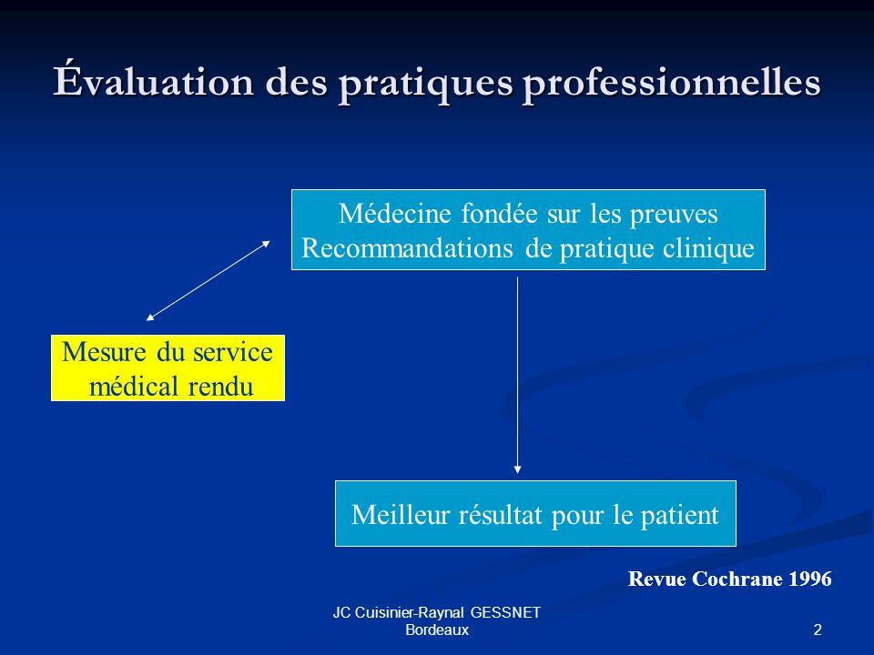2 JC Cuisinier-Raynal GESSNET Bordeaux Évaluation des pratiques professionnelles Médecine fondée sur les preuves Recommandations de pratique clinique Meilleur résultat pour le patient Mesure du service médical rendu Revue Cochrane 1996