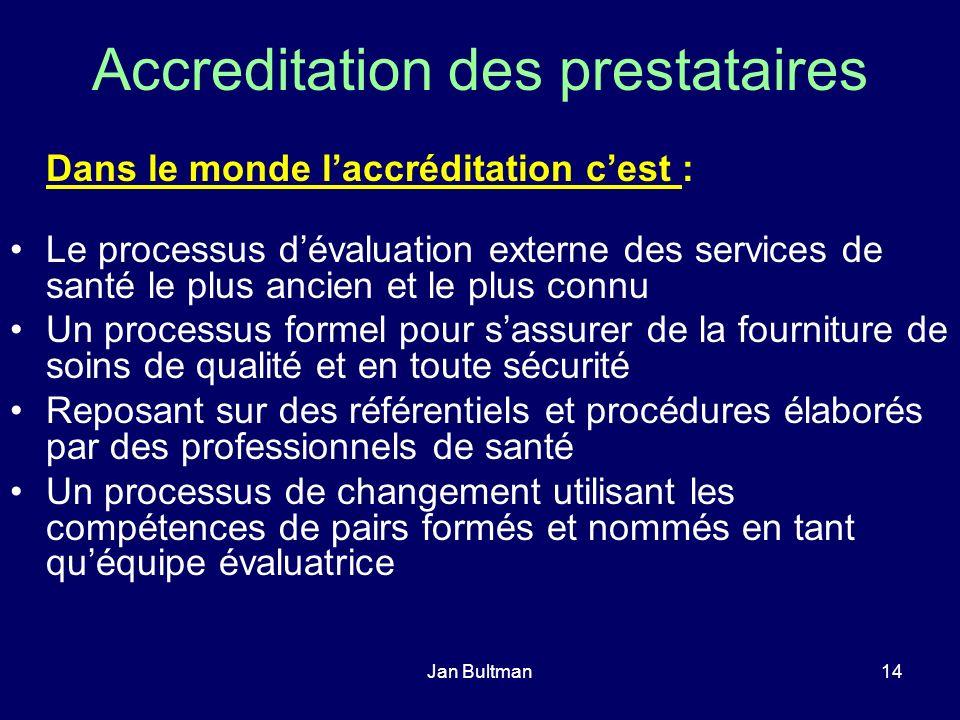 Jan Bultman14 Accreditation des prestataires Dans le monde laccréditation cest : Le processus dévaluation externe des services de santé le plus ancien