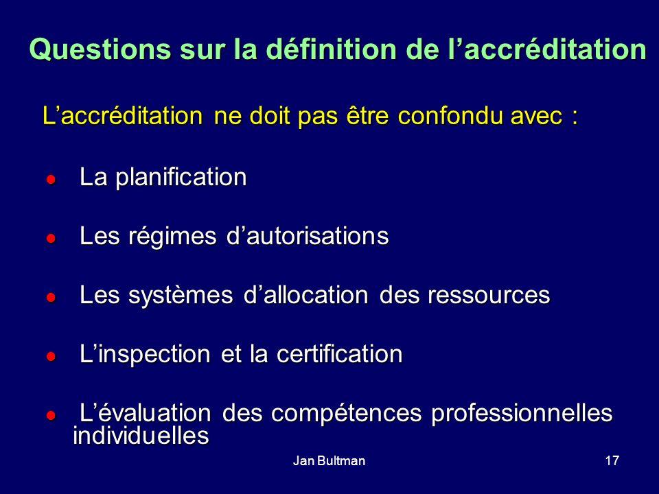 Jan Bultman17 Questions sur la définition de laccréditation Laccréditation ne doit pas être confondu avec : La planification La planification Les régi