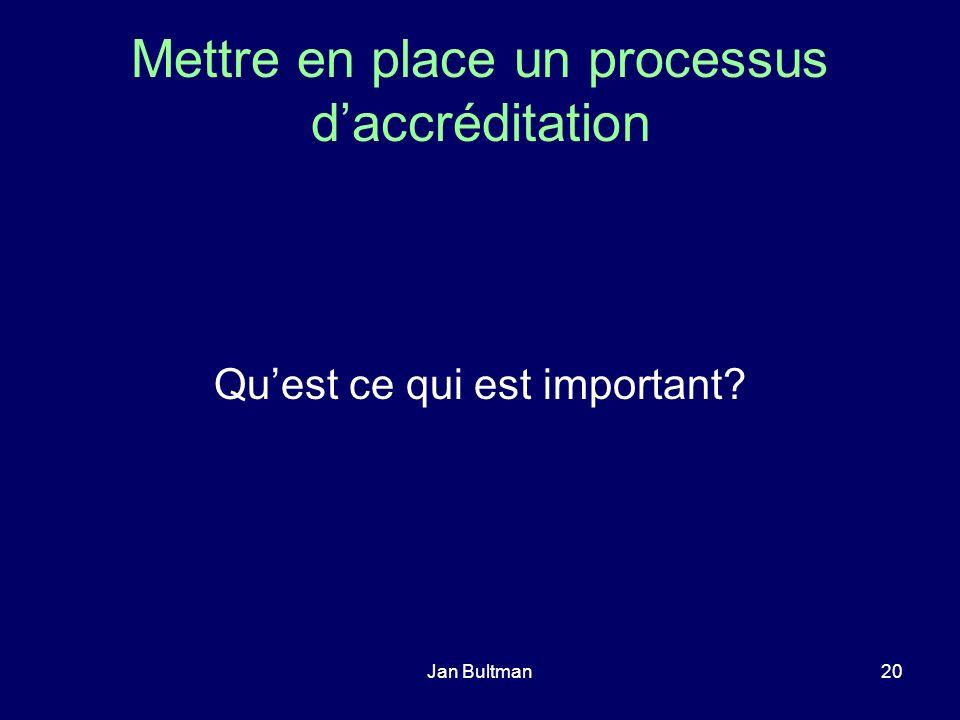 Jan Bultman20 Mettre en place un processus daccréditation Quest ce qui est important?