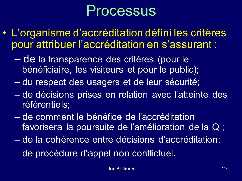 Jan Bultman27 Processus Lorganisme daccréditation défini les critères pour attribuer laccréditation en sassurant : – de la transparence des critères (pour le bénéficiaire, les visiteurs et pour le public); – du respect des usagers et de leur sécurité; – de décisions prises en relation avec latteinte des référentiels; – de comment le bénéfice de laccréditation favorisera la poursuite de lamélioration de la Q ; – de la cohérence entre décisions daccréditation; – de procédure dappel non conflictuel.