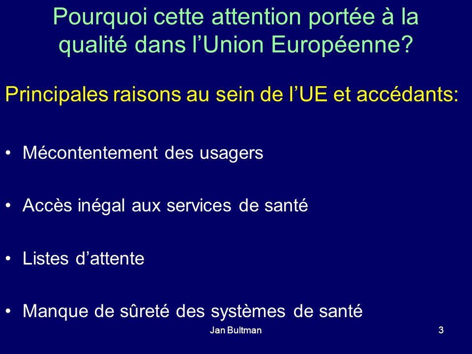 Jan Bultman3 Pourquoi cette attention portée à la qualité dans lUnion Européenne? Principales raisons au sein de lUE et accédants: Mécontentement des