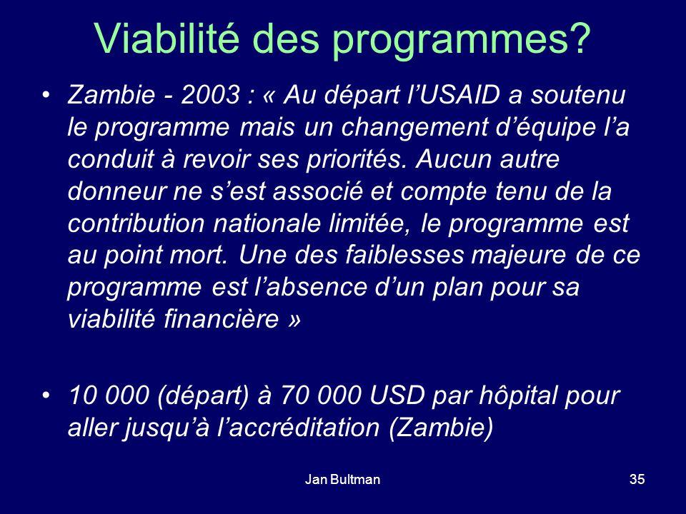 Jan Bultman35 Viabilité des programmes? Zambie - 2003 : « Au départ lUSAID a soutenu le programme mais un changement déquipe la conduit à revoir ses p