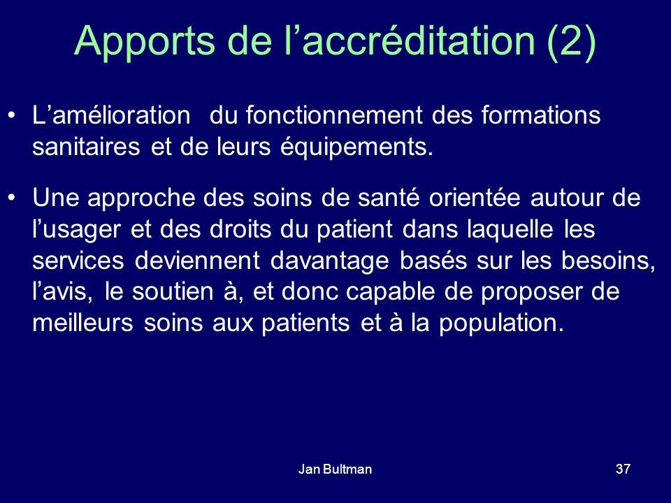 Jan Bultman37 Apports de laccréditation (2) Lamélioration du fonctionnement des formations sanitaires et de leurs équipements. Une approche des soins