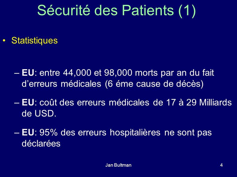 Jan Bultman4 Sécurité des Patients (1) Statistiques –EU: entre 44,000 et 98,000 morts par an du fait derreurs médicales (6 éme cause de décès) –EU: co