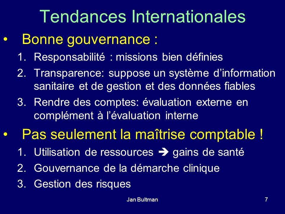 Jan Bultman8 Tendances Internationales Rééquilibrage entre l évaluation externe et interne de la qualité : rôle des professionnels de santé et des institutions de soins vis à vis des corps professionnels et des organismes de certification et daccréditation.