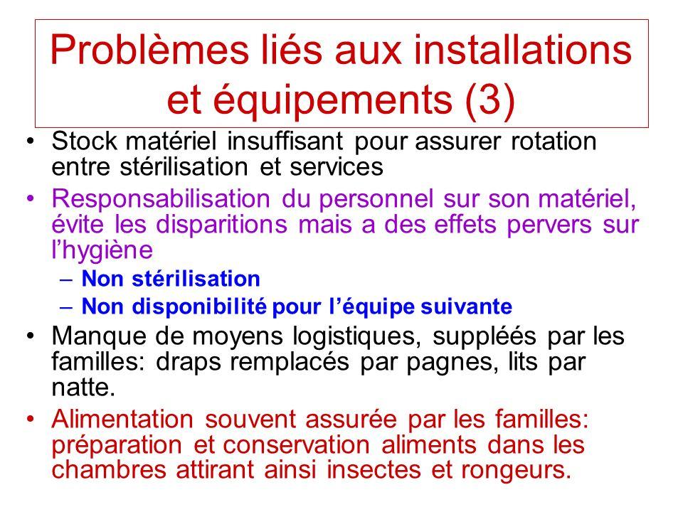 Stock matériel insuffisant pour assurer rotation entre stérilisation et services Responsabilisation du personnel sur son matériel, évite les dispariti