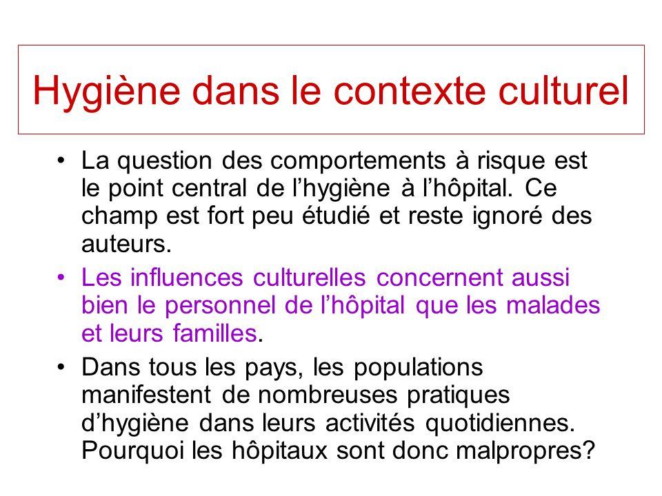 Hygiène dans le contexte culturel La question des comportements à risque est le point central de lhygiène à lhôpital. Ce champ est fort peu étudié et