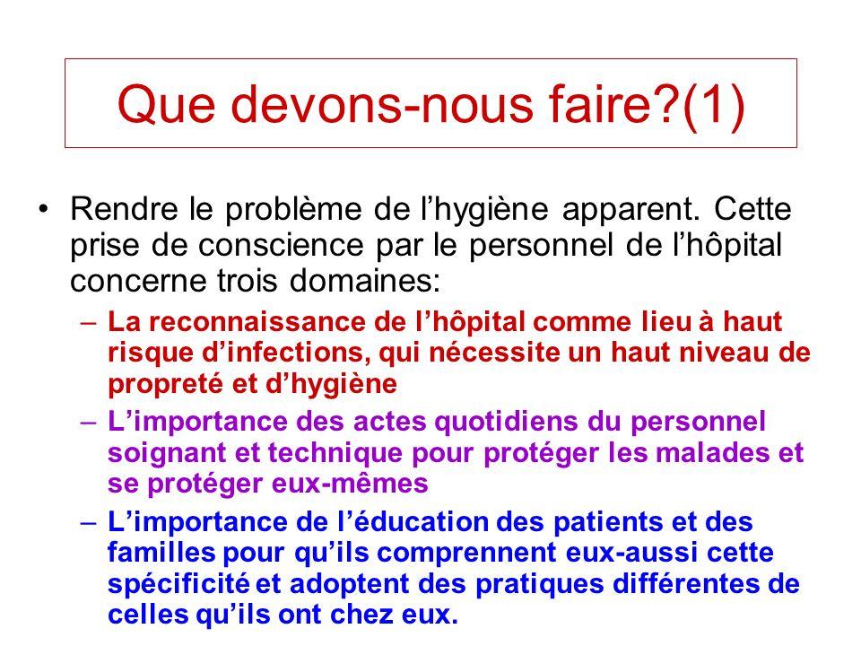 Que devons-nous faire?(1) Rendre le problème de lhygiène apparent. Cette prise de conscience par le personnel de lhôpital concerne trois domaines: –La