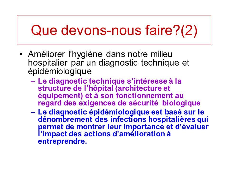 Améliorer lhygiène dans notre milieu hospitalier par un diagnostic technique et épidémiologique –Le diagnostic technique sintéresse à la structure de