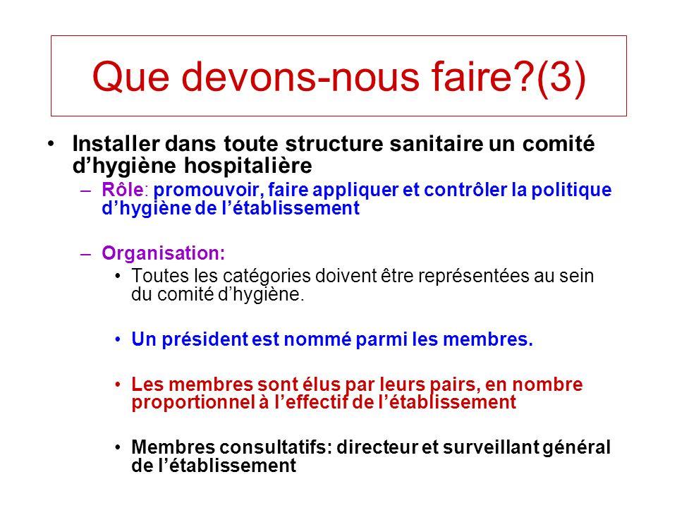 Installer dans toute structure sanitaire un comité dhygiène hospitalière –Rôle: promouvoir, faire appliquer et contrôler la politique dhygiène de léta