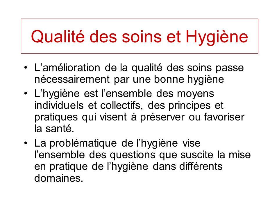 Qualité des soins et Hygiène Lamélioration de la qualité des soins passe nécessairement par une bonne hygiène Lhygiène est lensemble des moyens indivi