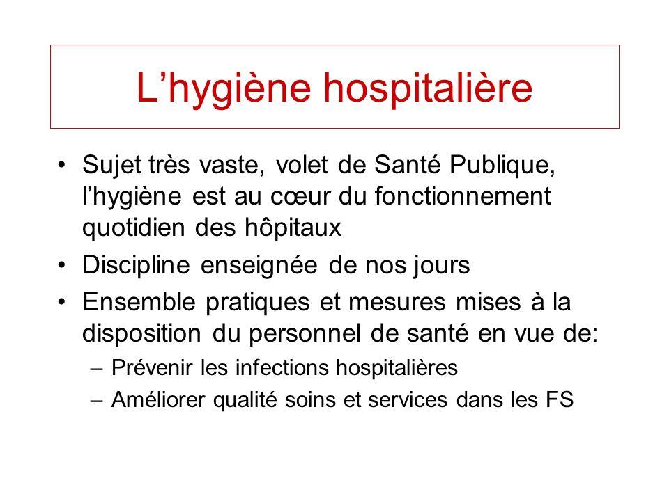 Lhygiène hospitalière Sujet très vaste, volet de Santé Publique, lhygiène est au cœur du fonctionnement quotidien des hôpitaux Discipline enseignée de