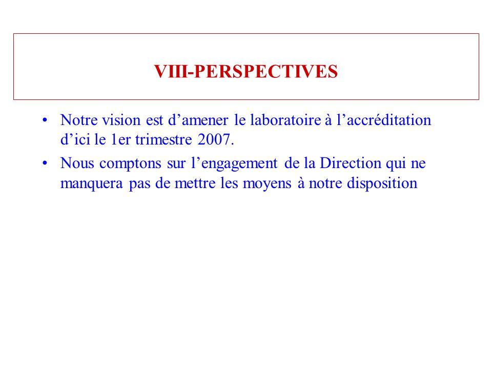 VIII-PERSPECTIVES Notre vision est damener le laboratoire à laccréditation dici le 1er trimestre 2007. Nous comptons sur lengagement de la Direction q
