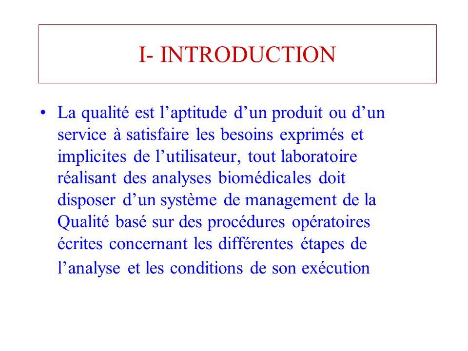 I- INTRODUCTION La qualité est laptitude dun produit ou dun service à satisfaire les besoins exprimés et implicites de lutilisateur, tout laboratoire