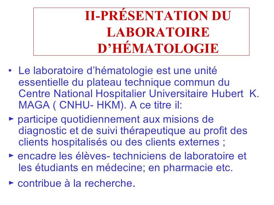 II-PRÉSENTATION DU LABORATOIRE DHÉMATOLOGIE Le laboratoire dhématologie est une unité essentielle du plateau technique commun du Centre National Hospi