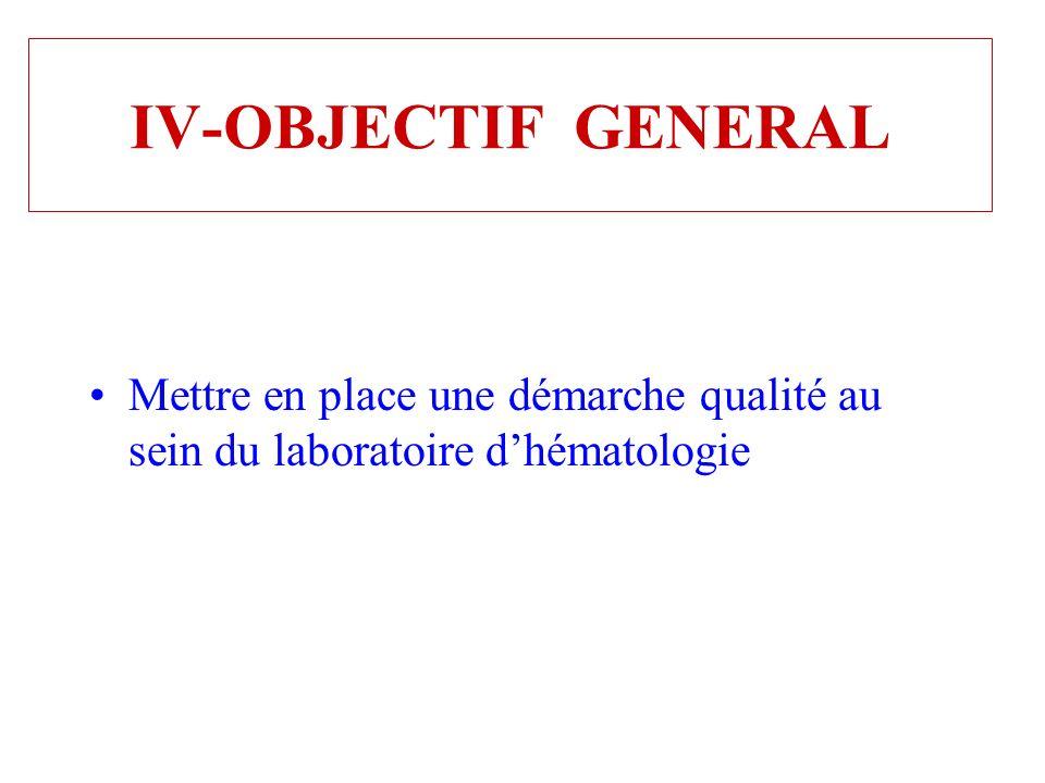 IV-OBJECTIF GENERAL Mettre en place une démarche qualité au sein du laboratoire dhématologie