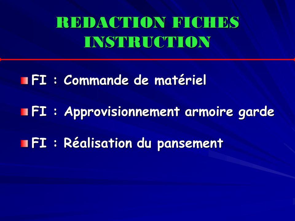 REDACTION FICHES INSTRUCTION FI : Commande de matériel FI : Approvisionnement armoire garde FI : Réalisation du pansement