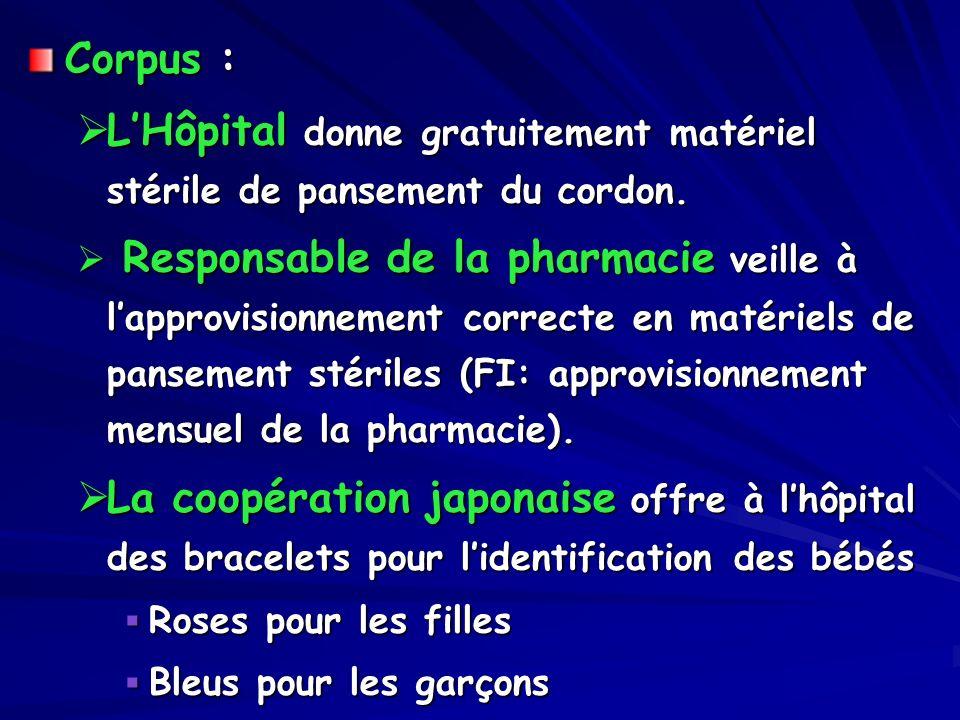 Corpus : LHôpital donne gratuitement matériel stérile de pansement du cordon. LHôpital donne gratuitement matériel stérile de pansement du cordon. Res