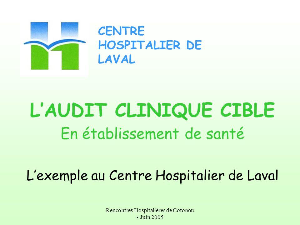 Rencontres Hospitalières de Cotonou - Juin 2005 LAUDIT CLINIQUE CIBLE En établissement de santé Lexemple au Centre Hospitalier de Laval CENTRE HOSPITA