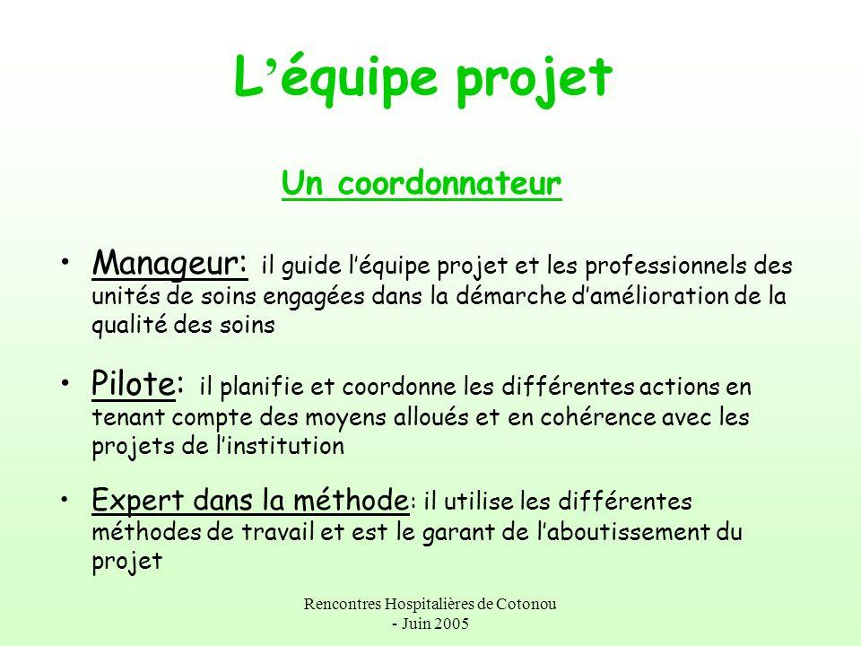 Rencontres Hospitalières de Cotonou - Juin 2005 L équipe projet Un coordonnateur Manageur: il guide léquipe projet et les professionnels des unités de